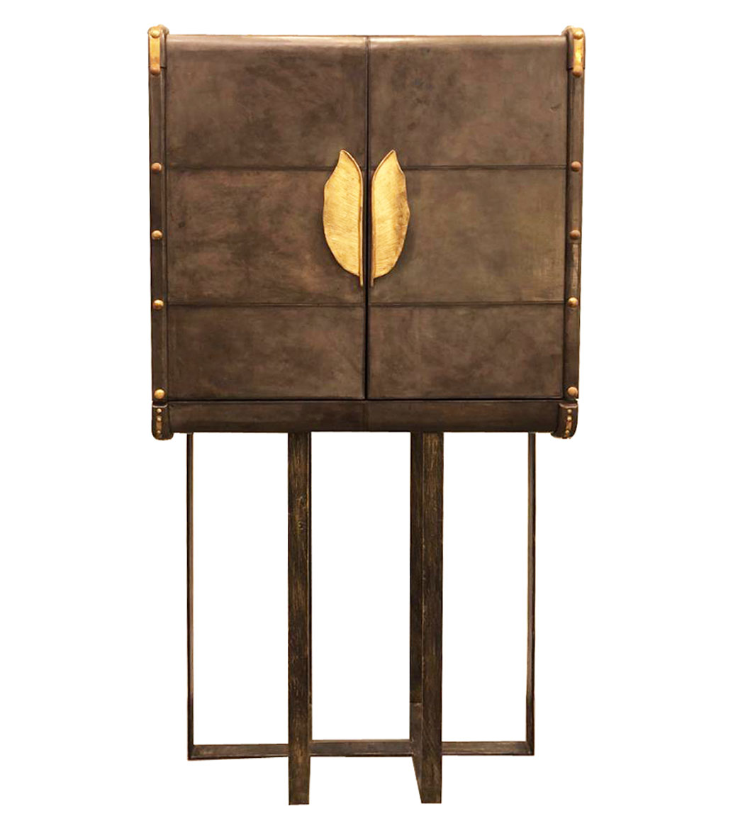 Msquare Gallery item Leather Cabinet with brass base and handles