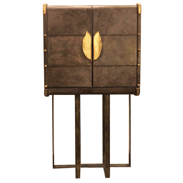 Msquare Gallery Product Leather Cabinet with brass base and handles